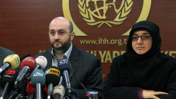 Yasar Kutluay, secretary general of the Turkish Islamic charity, IHH speaks to the media in Turkey on 14 January.