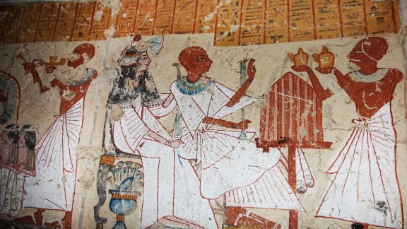 The frescoes depict daily life and religious rituals.