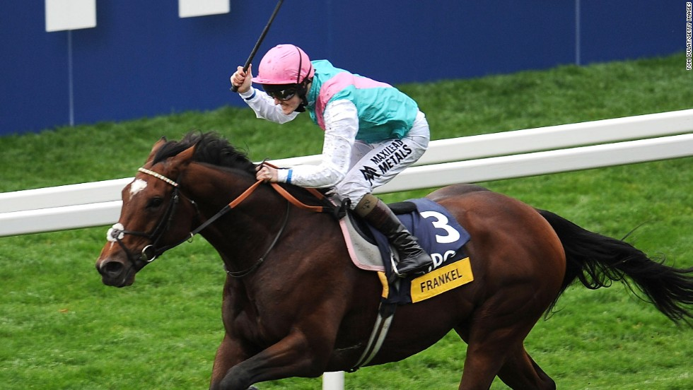 Tom Queally partners Frankel to victory in the unbeaten wonder horse's final race in the Champions Stakes, sponsored by QIPCO, at Ascot in October 2012.
