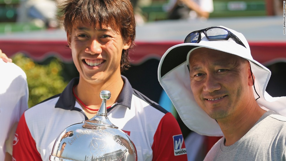 Michael Chang (right), who stunned Edberg in the 1989 French Open final as a teenager, took up a coaching role with rising Japanese star Nishikori in December 2013.