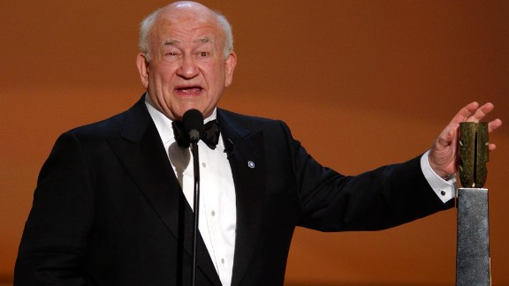US actor Ed Asner accepts the Life Achievement Award at the 8th Annual Screen Actors Guild Awards in Los Angeles in 2002.