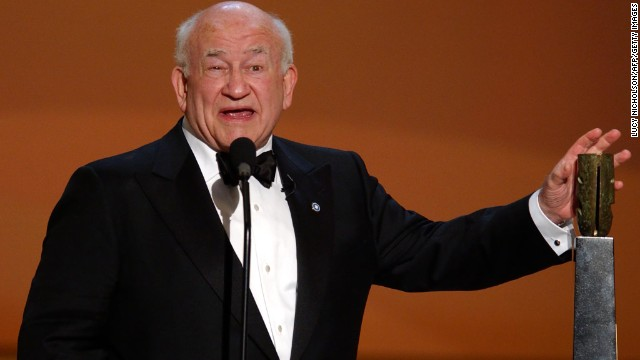 LOS ANGELES, UNITED STATES:  US actor Ed Asner accepts the Life Achievement Award at the 8th Annual Screen Actors Guild Awards in Los Angeles, CA, 10 March 2002.  AFP PHOTO/Lucy Nicholson (Photo credit should read LUCY NICHOLSON/AFP/Getty Images)