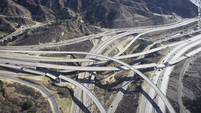Sections of freeway ramps collapsed during the Northridge earthquake on January 18, 1994.
