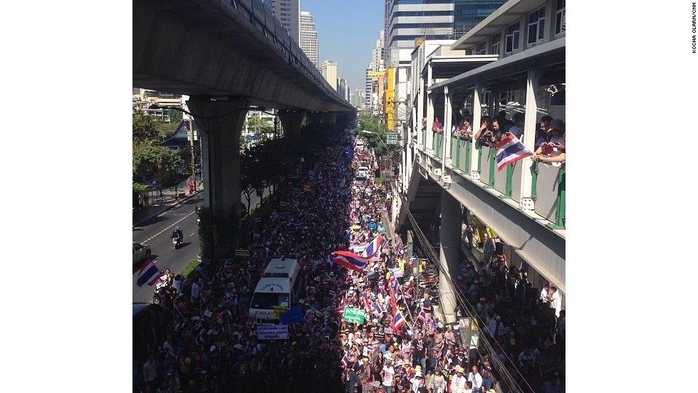 "Tens of thousands of anti-government protesters flooded Bangkok's Sukhumvit Road on Wednesday. The protest are ""so far very peaceful,"" says CNN's Tim Schwarz. Photo by Tim Schwarz/CNN (Instagram: @tjschwarz)"