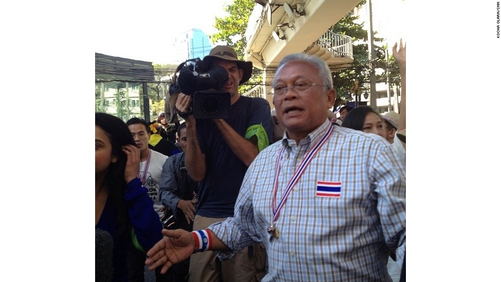 "Suthep Thaugsuban, the leader of the anti-government protests, has called for replacement of the current ""tyrant government"" with a ""People's Council."" Photo by Kocha Olarn/CNN (Instagram: @koachaolarn)"