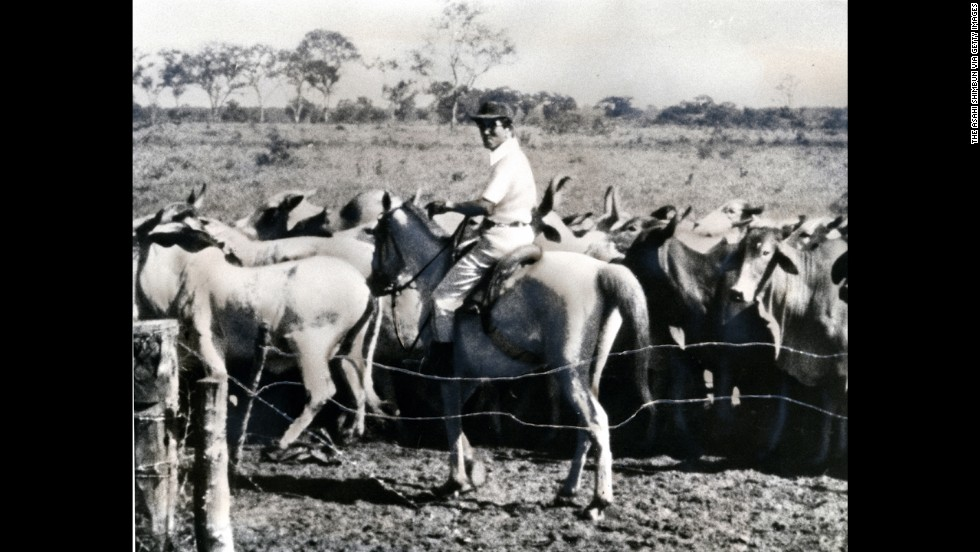 Onoda on horseback in Brazil in 1981. After his return to Japan, he moved to the South American country in 1975 and set up a cattle ranch.