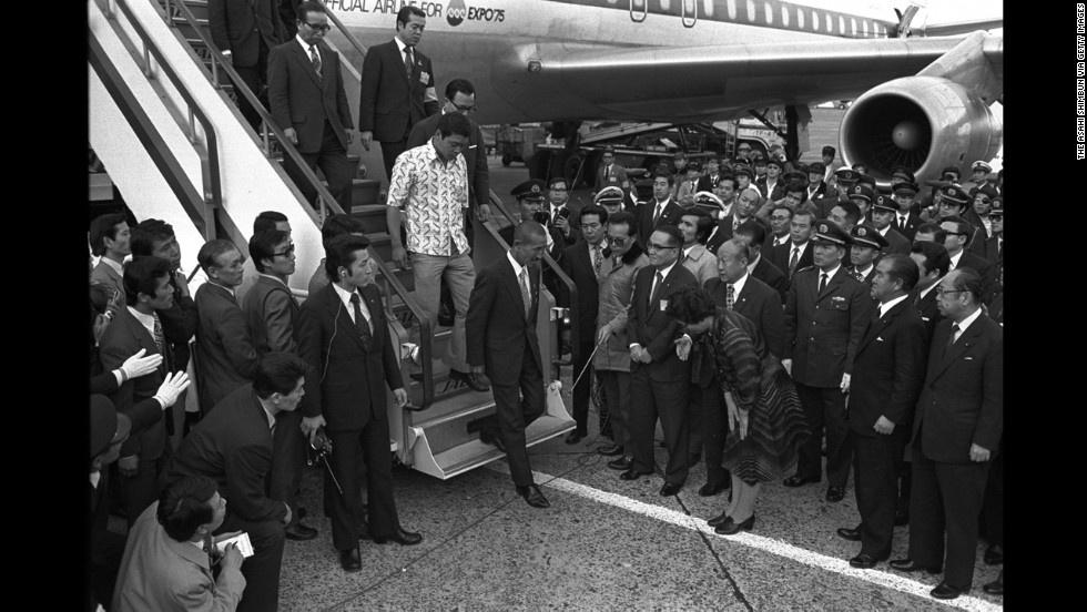 The former intelligence officer returns to Japan, landing at Tokyo International Airport in March 1974. He was 52 years old.