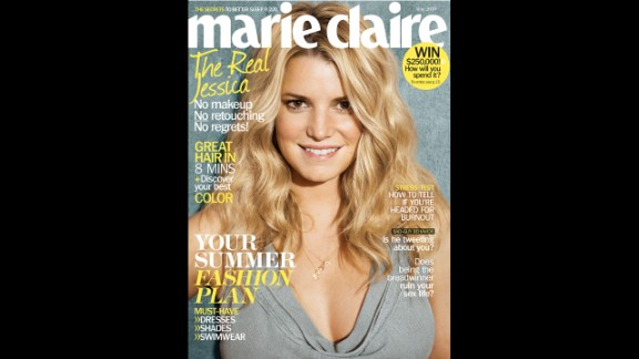 "Jessica Simpson appeared with air-dried hair and wearing no makeup for the May 2010 cover of Marie Claire. Simpson told the magazine, ""I don"