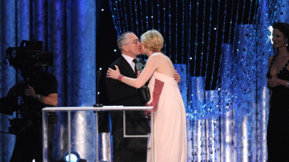 "Robert De Niro presents Cate Blanchett with the award for outstanding performance by a female actor in a leading role for ""Blue Jasmine."""