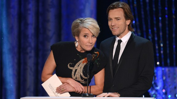 "Emma Thompson and Ewan McGregor present the award for male actor in a TV movie or miniseries. It went to Michael Douglas for his role in ""Behind the Candelabra."""