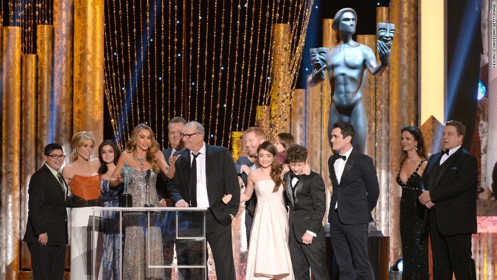 "The actors of ""Modern Family"" accept the award for outstanding performance by an ensemble in a comedy series. It's the show's fourth straight SAG Award."