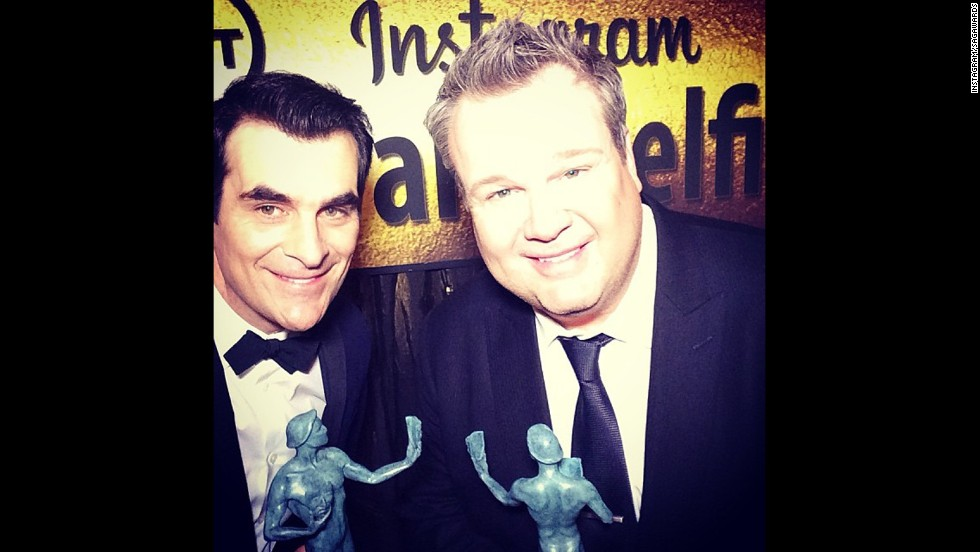 """Modern Family"" co-stars Ty Burrell and Eric Stonestreet celebrate a fun night -- and forget to say who they forgot to thank in their acceptance speeches."