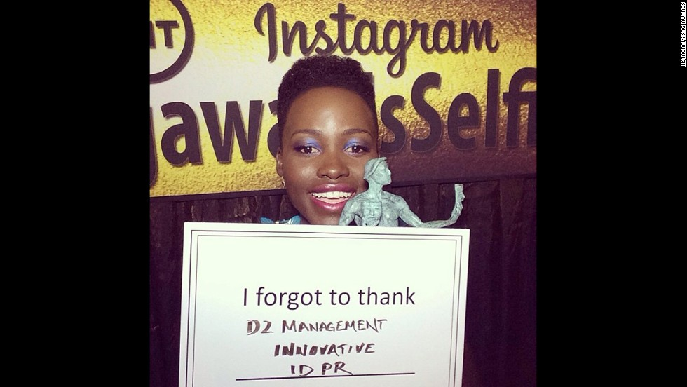 "Lupita Nyong'o won the first statue at the January 18 SAG Awards,  and she had to thank a few of her supporters after she left the stage. The ""I forgot to thank"" card quickly became a meme on <a href=""http://instagram.com/sagawards"" target=""_blank"">the SAG Awards' Instagram account.</a>"