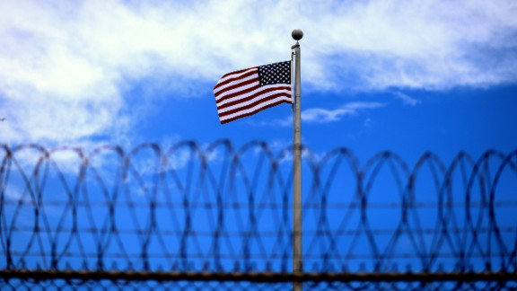 An American flag flies over Camp 6 at Guantanamo in June 2013.