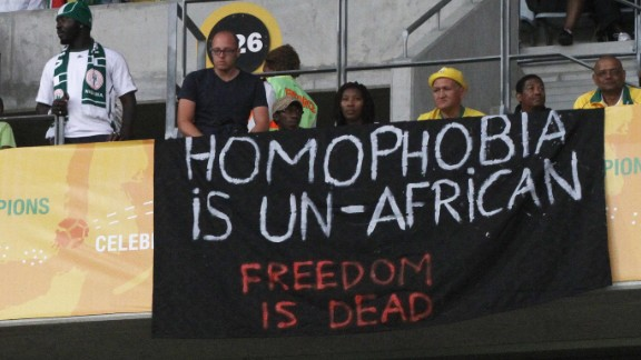 Banners in protest at the Anti-Gay Marrage Law recently passed in Nigeria are displayed in the crowd during the 2014 African Nations Championship match between South Africa and Nigeria at Cape Town Stadium on January 19, 2014 in Cape Town, South Africa.