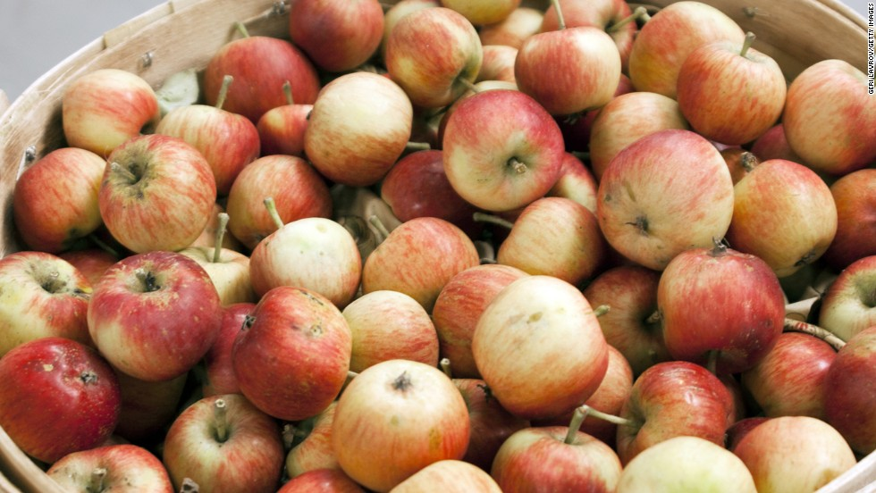 "<strong>Apples</strong><br /><br />Apples are one of the few fruits that contain pectin, which naturally slows digestion and promotes a feeling of fullness, according to a study in Gastroenterology. In fact, people who ate an apple as part of a meal felt more satiated and ate less than those who consumed a calorically equivalent amount of juice and applesauce. <br /><br />""Whole apples take a long time to eat for very few calories,"" says Susan Roberts, professor of nutrition at Tufts University. Your body has more time to tell your brain that you're no longer hungry. That means you can eat lots of this low-energy-density, high-satiety fruit and avoid feeling deprived while losing weight, adds Roberts.<br /><br /><strong>Feel even fuller:</strong> Add apple chunks to oatmeal or salad, or slices to a turkey-on-whole-wheat sandwich.<br /><br /><a href=""http://www.health.com/health/gallery/0,,20629049,00.html "" target=""_blank"">Health.com: 25 amazing apple recipes</a>"