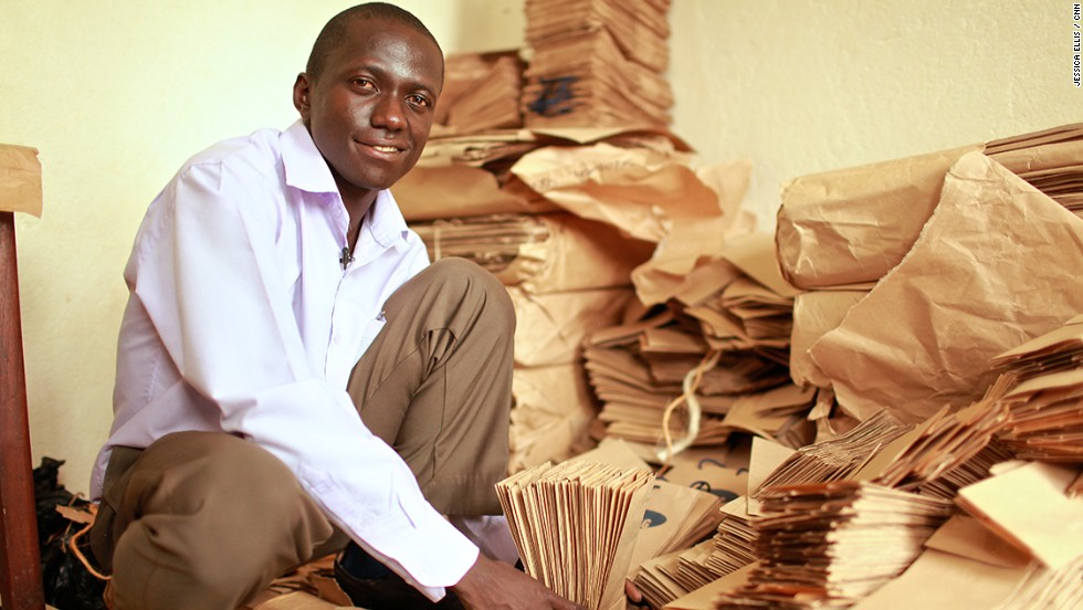 "As Uganda tries to tackle a surplus of plastic bags in a bid to reduce its acute waste management problem, <a href=""http://edition.cnn.com/2014/01/23/business/paper-bag-empire-andrew-mupuya/index.html"" target=""_blank"">entrepreneur Andrew Mupuya</a> founded the country's first paper bag company, Youth Entrepreneurial Link Investments (YELI)."