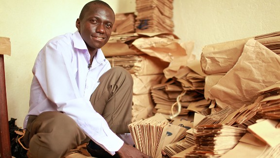 """As Uganda tries to tackle a surplus of plastic bags in a bid to reduce its acute waste management problem, <a href=""""http://edition.cnn.com/2014/01/23/business/paper-bag-empire-andrew-mupuya/index.html"""" target=""""_blank"""">entrepreneur Andrew Mupuya</a> founded the country's first paper bag company, Youth Entrepreneurial Link Investments (YELI)."""