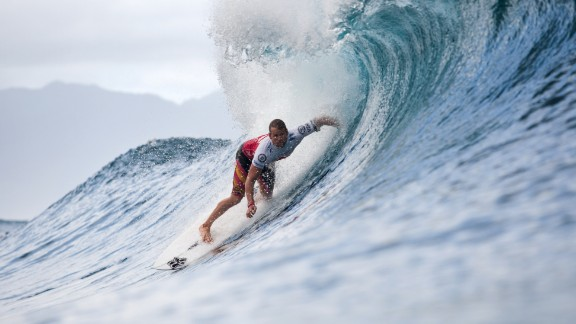 Surfer Damien Hobgood rides a huge wave during the Billabong Pope Masters at Pipeline, Oahu, in 2012. Located on the island where modern surfing was developed, Pipeline is one of the heaviest waves in the world, towering 20 feet over a shallow base of razor-blade table reef. The National Weather Service in Hawaii said it expects waves 40-to-50-feet high to hit the north shore of Oahu on Wednesday, January 22.