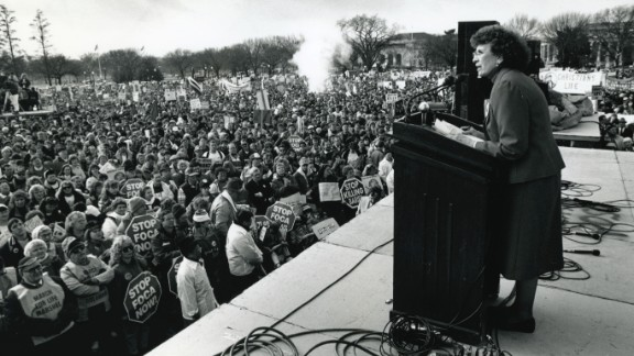 Nellie Gray speaks at the Right to Life rally on the Ellipse in Washington on January 22, 1993. For its first 40 years, the march was marshaled by Gray, an occasionally irascible Catholic who had little use for modern technology, political compromise or the mainstream media. Gray died in her home office in 2012 at 88. She is succeeded by Jeanne Monahan.