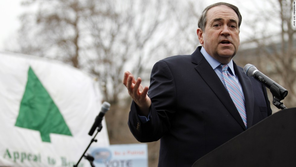 "Former Arkansas Gov. Mike Huckabee speaks during a anti-abortion rally at Lafayette Park in Washington on January 22,  2012. ""In past years, our rally has gone on for two or three hours and people lost interest,"" Monahan says. So, instead of boring speeches, the rally this year will feature a live concert by Matt Maher, a Catholic singer-songwriter with a huge following among young Christians."