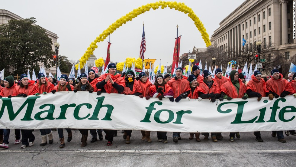 Anti-abortion protesters attend the March for Life on January 25, 2013, in Washington.