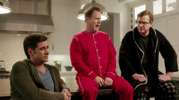 """Former """"Full House"""" stars, from left, John Stamos, Dave Coulier and Bob Saget got together again for a Dannon Oikos commercial for Super Bowl 2014."""
