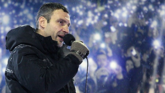 Head of UDAR (Punch) political party and one of the leader of Ukrainian opposition Vitalii Klitschko speaks during a mass rally on Independence Square in Kiev on January 22, 2014. Ukrainian police on Wednesday stormed protesters' barricades in Kiev amid violent clashes that left five activists dead, the first fatalities in two months of anti-government protests. Pitched battles raged in the centre of the Ukrainian capital as protesters hurled stones and Molotov cocktails at police and the security forces responded with tear gas, stun grenades and rubber bullets. AFP PHOTO/ POOL/ ANATOLIY STEPANOVANATOLIY STEPANOV/AFP/Getty Images