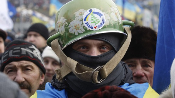 A European integration supporter is seen in Independence Square.