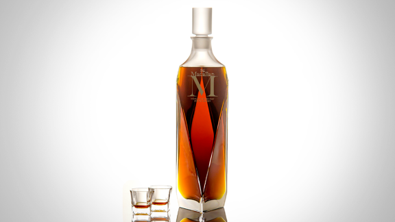 """A large crystal decanter filled with rare Macallan """"M"""" whisky sold for $628,205 at a Sotheby's auction in Hong Kong this weekend. That hefty price tag set a new world record for the most expensive single-malt whisky sold at auction."""