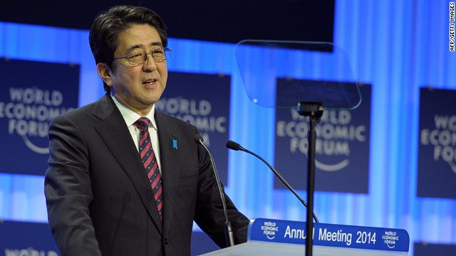 "Japanese Prime Minister Shinzo Abe delivers his special address during the opening session of the World Economic Forum in Davos on January 22, 2014. Top bosses and economists warned the global elite not to get over-excited by a gradual economic upturn in Europe, which one chief executive branded an ""emerging country."" AFP PHOTO/ERIC PIERMONTERIC PIERMONT/AFP/Getty Images"