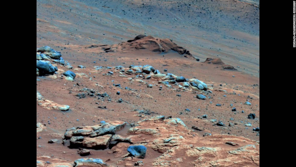 Spirit made another discovery linked to the possibility that Mars could have supported life. This photo is from that location -- an outcrop called Comanche -- in 2005. In 2010, scientists combined data from the rover's three spectrometers and suggested the composition of Comanche is about one-fourth magnesium iron carbonate. This finding indicates the environment was once wet and nonacidic and could have been favorable to life.