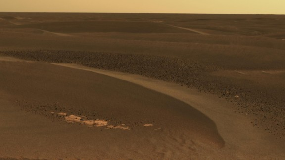 The Opportunity rover has studied windblown ripples in an area called the Meridiani Planum. This image, taken on April 27, 2006, shows a field of rocks known as cobbles among ripples about 8 inches high. The windblown ripples are likely left from a time when wind patterns were different,<strong> </strong>said planetary scientist Ray Arvidson.