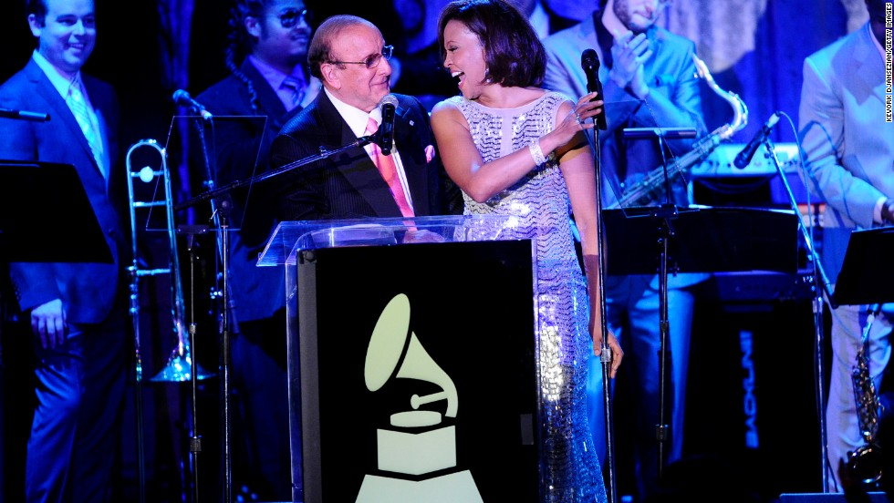 "<a href=""http://www.cnn.com/2012/02/11/showbiz/whitney-houston-dead/"" target=""_blank"">The death of singer Whitney Houston in 2012,</a> seen here with producer Clive Davis at the a 2011 pre-Grammy Gala and Salute To Industry Icons in Beverly Hills, California, on the weekend of the show, left show producers scrambling to put together <a href=""http://www.cnn.com/2012/02/12/showbiz/whitney-houston-grammy-tribute/"">a quick tribute</a>. Grammys host LL Cool J offered some words of tribute and singer Jennifer Hudson sang Hudson's hit ""I Will Always Love You."""