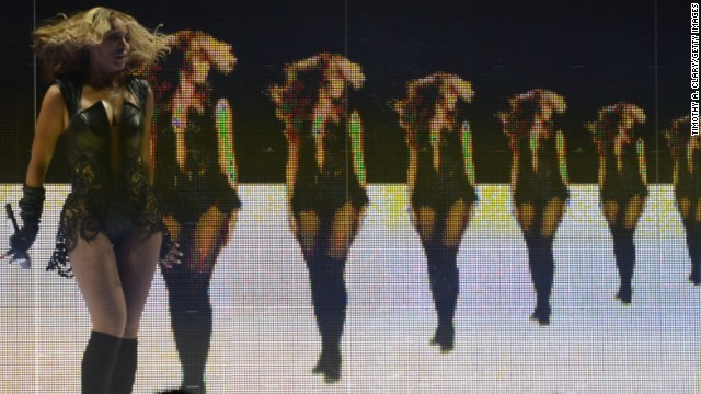 Beyonce performs in front of a massive video wall during the 2013 Super Bowl  halftime show at the Superdome in New Orleans.