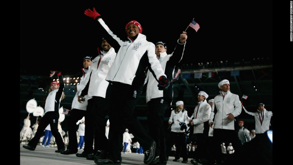 American Athletes At The Opening Ceremony In 2006 Winter Games Turin Italy