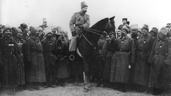 The Cossacks allied with Russia's last emperor, Tsar Nicholas II, to fight against the Bolsheviks and their 1917 Communist revolution. Here, Tsar Nicolas is wearing a Cossack uniform and inspecting Cossack soldiers.