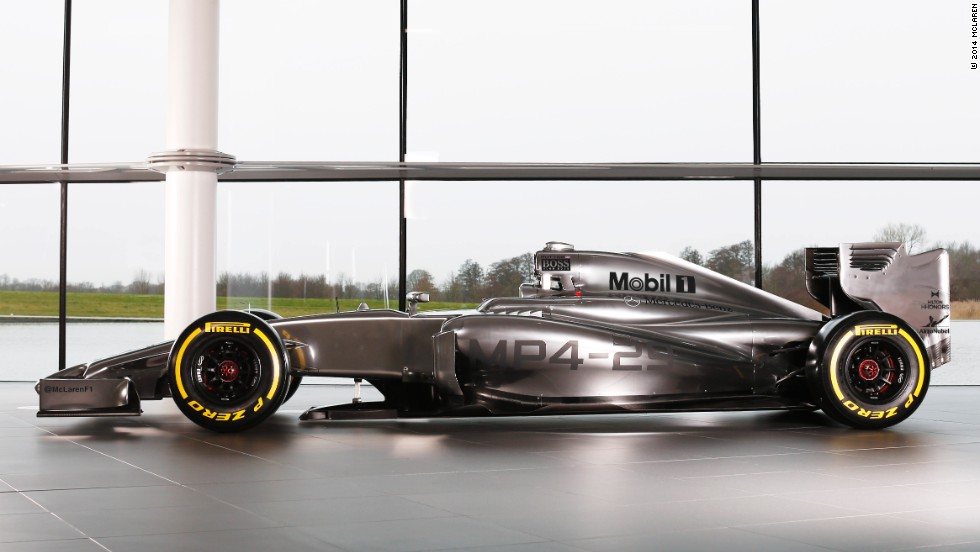 A sideview of the MP4-29 which will be raced by 2009 world champion Jenson Button and rookie Kevin Magnussen.