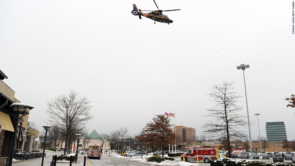 The Maryland State Police medivac flys over the mall.