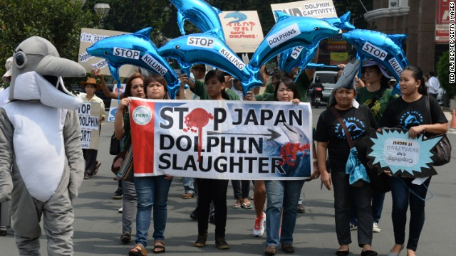 Protesters march to the Japanese Embassy in Manila, Philippines, on September 2, 2013, to decry dolphin and small whales hunt in Taiji.