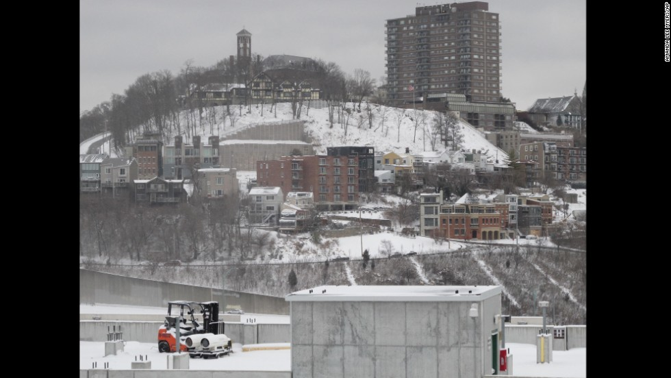 The Cincinnati neighborhood of Mount Adams is shown blanketed in snow on Saturday, January 25.