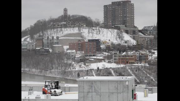 The Cincinnati neighborhood of Mount Adams is shown blanketed in snow on Saturday, January 25.