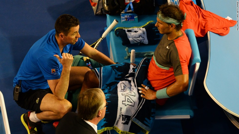 The trainer arrived with Wawrinka up 1-2 in the second. Soon Nadal was heading off court for a medical timeout.