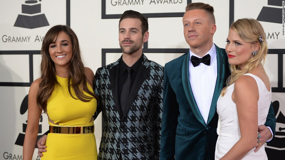 Macklemore, second from right, and Ryan Lewis with their guests