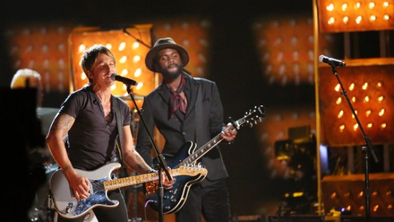 """Country star Keith Urban, left, and Gary Clark Jr. perform """"Cop Car."""""""