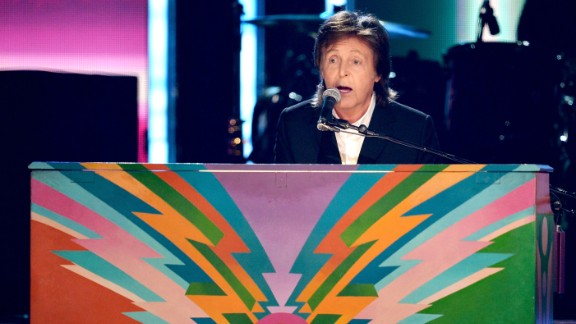 """Former Beatle Paul McCartney performs his song """"Queenie Eye"""" with Ringo Starr, not pictured."""