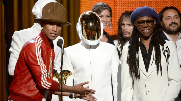 "Record of the year: ""Get Lucky"" by Daft Punk featuring Pharrell Williams and Nile Rodgers. The song also won best pop duo/group performance."