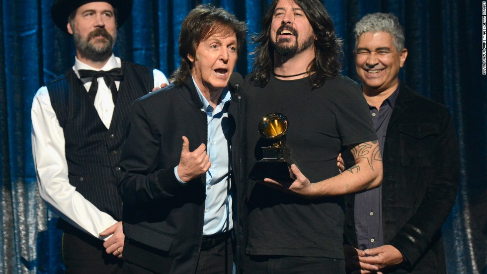 "<strong>Best rock song:</strong> ""Cut Me Some Slack"" by Paul McCartney, Dave Grohl, Krist Novoselic and Pat Smear"