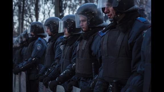 Police block a street in Kiev on January 27.
