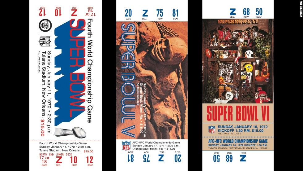 Tickets for Super Bowls IV, V and VI. The NFL has traditionally used Roman numerals for the annual event.